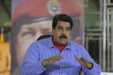Venezuela's President Nicolas Maduro gestures as he speaks during the opening ceremony of a plant of heavy duty equipment and tractors in Barinas, Venezuela in this handout picture provided by Miraflores Palace on October 20, 2015. REUTERS/Miraflores Palace/Handout via Reuters