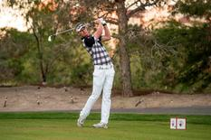 Brett Stegmaier tees off on hole number seven during the second round of the Shriners Hospitals for Children Open at TPC Summerlin at TPC Summerlin. Joshua Dahl-USA TODAY Sports