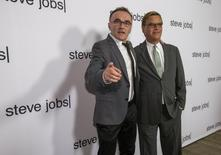 "Director of the movie Danny Boyle (L) poses with writer Aaron Sorkin at an industry screening of ""Steve Jobs"" at the Academy of Motion Picture Arts and Sciences in Beverly Hills, California October 8, 2015. The movie opens in the U.S. on October 23. REUTERS/Mario Anzuoni"