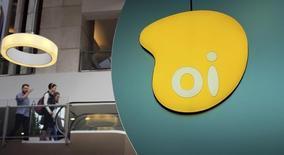 El logo de Oi visto en una tienda en Sao Paulo, 14 de noviembre de 2014.    Oi SA, la principal proveedora de telefonía móvil de Brasil, recibió una propuesta de la firma de inversión LetterOne Group para avalar una posible fusión con su rival TIM Participações SA. REUTERS/Nacho Doce