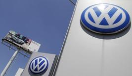 The logo of German carmaker Volkswagen is seen at the Volkswagen (VW) automobile manufacturing plant in Puebla near Mexico City September 23, 2015.  REUTERS/Imelda Medina