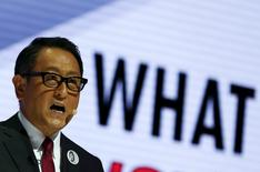 Toyota Motor Corp President Akio Toyoda talks during a presentation at the 44th Tokyo Motor Show in Tokyo, Japan, October 28, 2015.   REUTERS/Thomas Peter