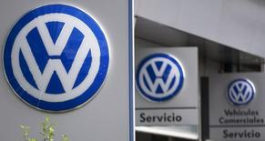 Volkswagen logos are seen at a dealership in Madrid, Spain, October 20, 2015.