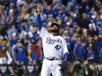 Oct 28, 2015; Kansas City, MO, USA; Kansas City Royals starting pitcher Johnny Cueto (47) reacts after throwing a complete game to defeat the New York Mets in game two of the 2015 World Series at Kauffman Stadium. Mandatory Credit: Peter G. Aiken-USA TODAY Sports