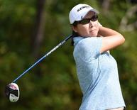 Candie Kung drives during the fourth round at Vancouver Golf Club. Mandatory Credit: Anne-Marie Sorvin-USA TODAY Sports