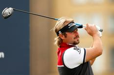 Victor Dubuisson of France tees off at the 3rd during the third round Mandatory Credit: Action Images / Jason Cairnduff Livepic