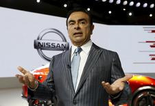 Nissan Motor Co Chief Executive Carlos Ghosn speaks during an interview with Reuters at the 44th Tokyo Motor Show in Tokyo, Japan, October 28, 2015. REUTERS/Toru Hanai