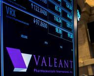 The ticker information for Valeant Pharmaceuticals International Inc. is displayed on a screen above the post where it's traded on the floor of the New York Stock Exchange November 4, 2015. REUTERS/Brendan McDermid