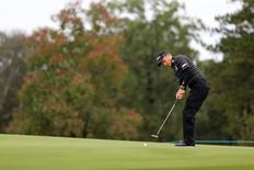 Nov 8, 2015; Jackson, MS, USA; Peter Malnati putts the ball on the first green during the fourth day of the Sanderson Farms Championship at the Country Club of Jackson. Mandatory Credit: Spruce Derden-USA TODAY Sports
