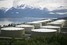 Нефтехранилища в Вальдесе, Аляска 8 августа 2008 года. Запасы нефти в США выросли на 6,3 миллиона баррелей до 486,1 миллиона баррелей на неделе, завершившейся 6 ноября, сообщил Американский институт нефти (API). REUTERS/Lucas Jackson