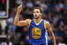 Nov 12, 2015; Minneapolis, MN, USA; Golden State Warriors guard Stephen Curry (30) celebrates a basket in the third quarter against the Minnesota Timberwolves at Target Center. The Golden State Warriors beat he Minnesota Timberwolves 129-116. Mandatory Credit: Brad Rempel-USA TODAY Sports