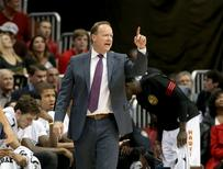 Nov 7, 2015; Atlanta, GA, USA; Atlanta Hawks head coach Mike Budenholzer reacts to a play in the fourth quarter of their game against the Washington Wizards at Philips Arena. Jason Getz-USA TODAY Sports