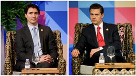 A combination photograph shows Canadian Prime Minister Justin Trudeau (L) and Mexican President Enrique Pena Nieto at the APEC Business Advisory Council dialogue in Manila, Philippines, November 18, 2015.  REUTERS/Wally Santana/Pool