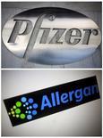 Логотипы Pfizer и Allergan. 22 ноября 2015 года. Совет директоров фармацевтической компании Pfizer Inc в воскресенье одобрил покупку производителя ботокса Allergan Plc более чем за $150 миллиардов, в результате чего может появиться крупнейший в мире производитель лекарств, сообщили источники, знакомые с ситуацией. REUTERS/Carlo Allegri/Thomas White/Files