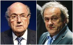 Presidente da Fifa, Joseph Blatter, e presidente da Uefa, Michel Platini,  em Zurique. 29/05/2015 REUTERS/Ruben Sprich