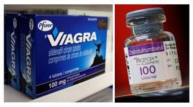 Le groupe pharmaceutique américain Pfizer, fabricant du Viagr, a annoncé lundi le rachat de son compatriote Allergan, connu pour son anti-rides Botox, une opération d'un montant global de 160 milliards de dollars (150,5 milliards d'euros), un record pour le secteur, qui lui permettra d'installer son siège en Irlande afin de réduire ses impôts. /Photos d'archives/REUTERS/Mark Blinch/Shannon Stapleton