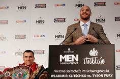 Boxing - Wladimir Klitschko & Tyson Fury Head-to-Head Press Conference  - Restaurantbetriebe Stockheim, Dusseldorf, Germany - 24/11/15 Tyson Fury (R) and Wladimir Klitschko during the press conference Action Images via Reuters / Lee Smith Livepic