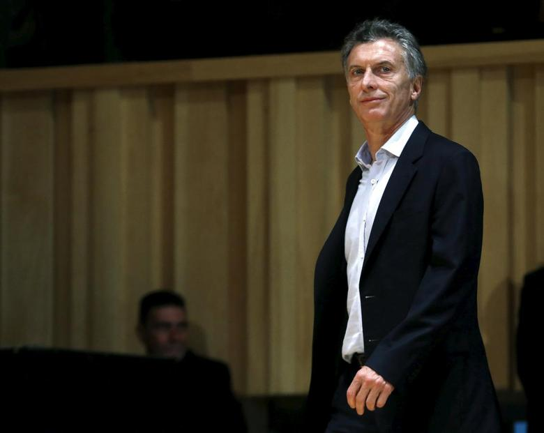 Argentina's president-elect Mauricio Macri arrives for a news conference in Buenos Aires, Argentina, November 23, 2015. REUTERS/Enrique Marcarian