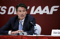 President of International Association of Athletics Federations Sebastian Coe speaks at a news conference, in Beijing, August 19, 2015.  REUTERS/Jason Lee
