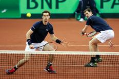 Great Britain's Andy Murray and Jamie Murray in action during their match against Belgium's Steve Darcis and David Goffin  Action Images via Reuters / Jason Cairnduff Livepic