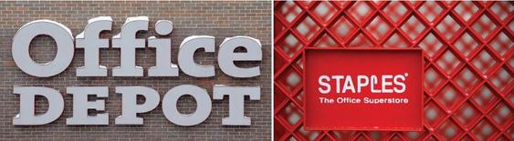 La Federal Trade Commission (FTC), l'autorité antitrust américaine, s'apprête à opposer un veto au projet d'acquisition pour 6,3 milliards de dollars (6,0 milliards d'euros) d'Office Depot par son concurrent Staples, selon le New York Post. /Photos d'archives/REUTERS/Jim Young
