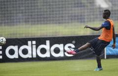 Italy's national soccer player Mario Balotelli kicks the ball as an Adidas advertising banner is seen during a training session ahead of the 2014 World Cup at the Portobello training center in Mangaratiba June 10, 2014. REUTERS/Alessandro Garofalo