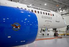 Bombardier's CS300 Aircraft, showing its' Pratt & Whitney engine in the foreground, sits in the hangar prior to its' test flight in Mirabel February 27, 2015.   REUTERS/Christinne Muschi