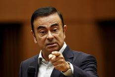 Carlos Ghosn, CEO of the Renault-Nissan Alliance speaks during a question and answer session organised by the Japan Chamber of Commerce in Tokyo July 16, 2015. REUTERS/Thomas Peter