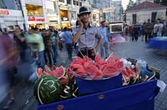 A street vendor selling watermelons talks on his mobile phone as he waits for customers at Taksim square in central Istanbul June 9, 2013. Turkish Prime Minister Tayyip Erdogan rallied his supporters in a string of defiant speeches on Sunday as tens of thousands of anti-government demonstrators massed in Istanbul's central Taksim Square.  REUTERS/Murad Sezer (TURKEY - Tags: POLITICS SOCIETY CIVIL UNREST)