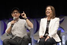 Star Wars: The Force Awakens' writer, director and producer J.J. Abrams (L) and producer Kathleen Kennedy appear at the kick-off event of the Star Wars Celebration convention in Anaheim, California, April 16, 2015. REUTERS/David McNew