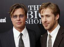 """Brad Pitt e Ryan Gosling, membros do elenco do filme """"A Grande Aposta"""", durante evento em Nova York.   24/11/2015     REUTERS/Shannon Stapleton"""