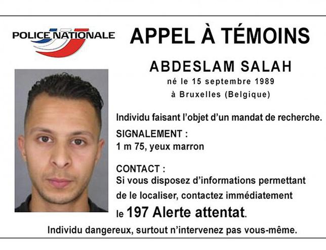 Handout picture shows Belgian-born Abdeslam Salah seen on a call for witnesses notice released by the French Police Nationale information services on their twitter account November 15, 2015. REUTERS/Police Nationale/Handout via Reuters