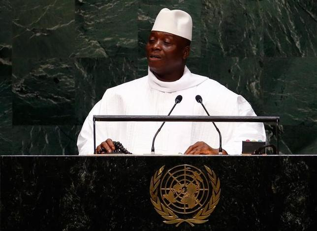 Al Hadji Yahya Jammeh, President of the Republic of the Gambia, addresses the 69th United Nations General Assembly at the U.N. headquarters in New York September 25, 2014.   REUTERS/Lucas Jackson