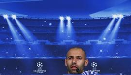 Javier Mascherano, do Barcelona, concede entrevista coletiva no Allianz Arena, em Munique, na Alemanha. 11/05/2015 REUTERS/Michaela Rehle
