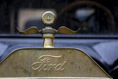 The logo and hood ornament of a 1915 Ford Model T is seen after it arrived from Detroit at the Palace of Fine Arts in San Francisco, California August 19, 2015.  REUTERS/Robert Galbraith -
