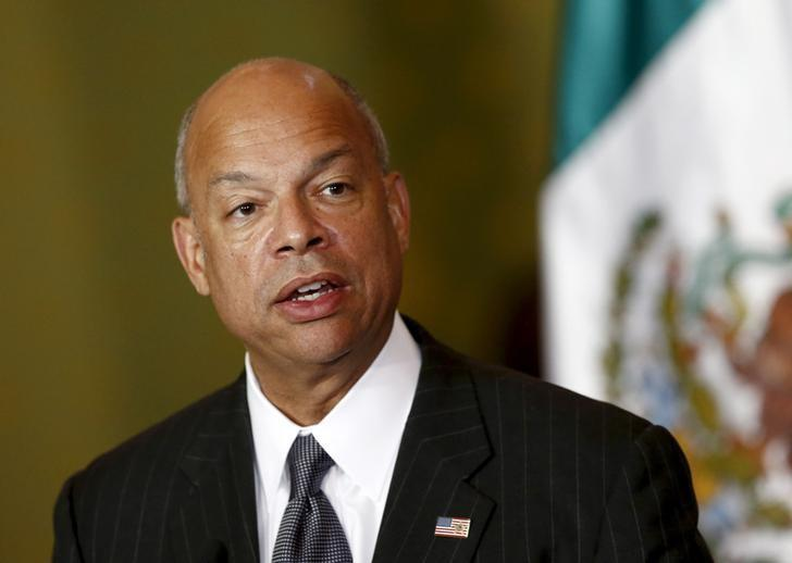 U.S. Department of Homeland Security (DHS) Secretary Jeh Johnson gives a speech to the media next to Mexico's Finance Minister Luis Videgaray (not pictured) as they announce a program of pre-inspection border stations during a news conference in Mexico City, Mexico October 15, 2015. REUTERS/Henry Romero