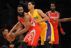 December 17, 2015; Los Angeles, CA, USA; Houston Rockets guard James Harden (13) controls the ball against Los Angeles Lakers during the second half at Staples Center. Mandatory Credit: Gary A. Vasquez-USA TODAY Sports