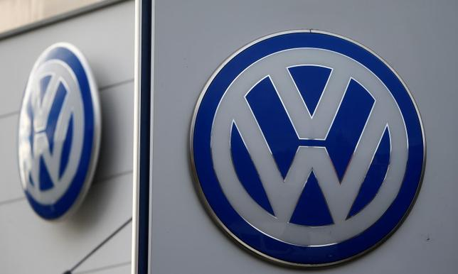 Logos of VW are pictured at a car shop in Bad Honnef near Bonn, Germany, November 4, 2015. REUTERS/Wolfgang Rattay