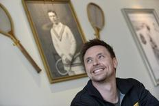 Robin Soderling smiles during a news conference at the Royal Tennis Hall in Stockholm May 21, 2012. REUTERS/Bertil Ericson/ Scanpix Sweden
