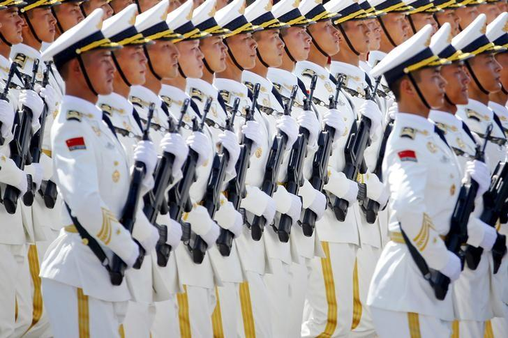 China's People's Liberation Army (PLA) navy soldiers march at Tiananmen Square during the military parade marking the 70th anniversary of the end of World War Two, in Beijing September 3, 2015.  REUTERS/Damir Sagolj