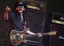 "Ian Fraser ""Lemmy"" Kilmister of Motorhead performs on the Pyramid stage during the Glastonbury Festival at Worthy Farm in Somerset, Britain, June 26, 2015.  REUTERS/Dylan Martinez"