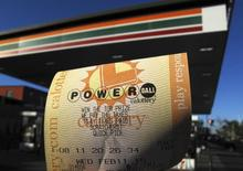 A powerball Lottery ticket is shown in this photo illustration after being purchased at a gas station in San Diego, California, February 10, 2015.   REUTERS/Mike Blake