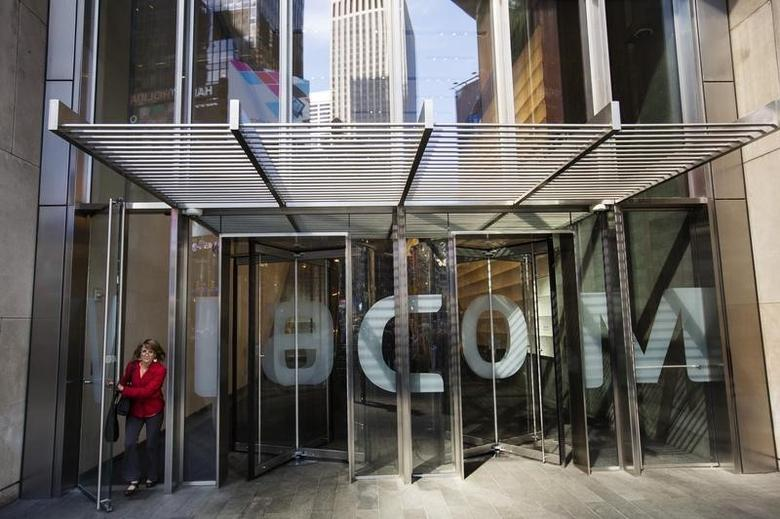 A woman exits the Viacom Inc. headquarters in New York April 30, 2013.  REUTERS/Lucas Jackson