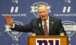 Jan 5, 2016; East Rutherford, NJ, USA;  New York Giants former head coach Tom Coughlin addresses the media during a press conference at Quest Diagnostics Training Center. Mandatory Credit: Jim O'Connor-USA TODAY Sports