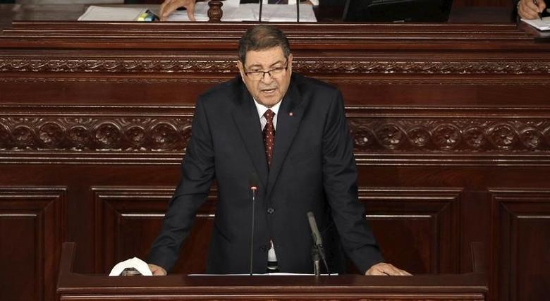 Tunisian prime minister Habib Essid delivers a speech the Assembly of People's Representatives after Tuesday's attack which killed at least 13 people and forced the government to impose a state of national emergency in Tunis, Tunisia November 26, 2015. REUTERS/Zoubeir Souissi