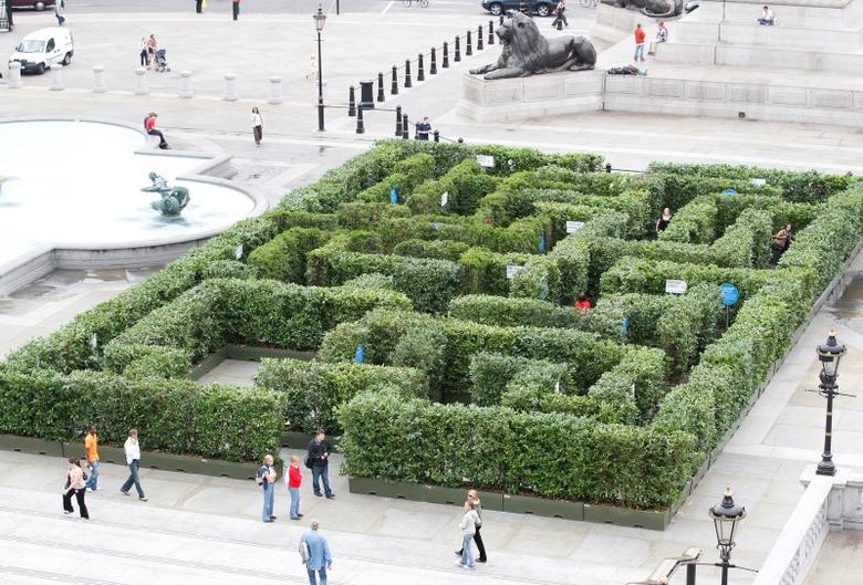 Visitors walk past a maze which had been set up in Trafalgar Square to promote London's West End shopping and entertainment district in 2010. The Finborough Theatre is located off the famous district REUTERS/Andrew Winning