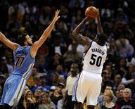 Jan 8, 2016; Memphis, TN, USA; Memphis Grizzlies forward Zach Randolph (50) shoots over Denver Nuggets center Joffrey Lauvergne (77) during the second half at FedExForum. Memphis Grizzlies defeated Denver Nuggets 91 - 84. Mandatory Credit: Justin Ford-USA TODAY Sports