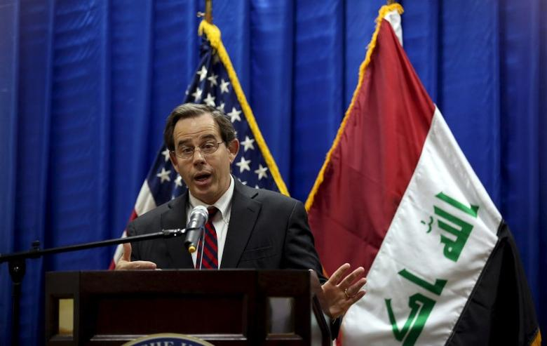 U.S. Ambassador to Iraq Stuart Jones speaks at a news conference introducing Lt. Gen. Sean MacFarland as the new commander general of the U.S.-led coalition in Iraq and Col. Steve Warren, as the coalition's new spokesman, at the U.S. Embassy in the heavily fortified Green Zone in Baghdad, Iraq, October 1, 2015. REUTERS/Khalid Mohammed/Pool