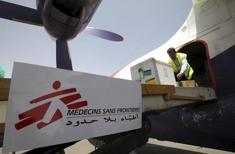 File photo of workers unloading emergency medical aid from Medecins Sans Frontieres from a plane at Sanaa airport, April 13, 2015. REUTERS/Mohamed al-Sayaghi