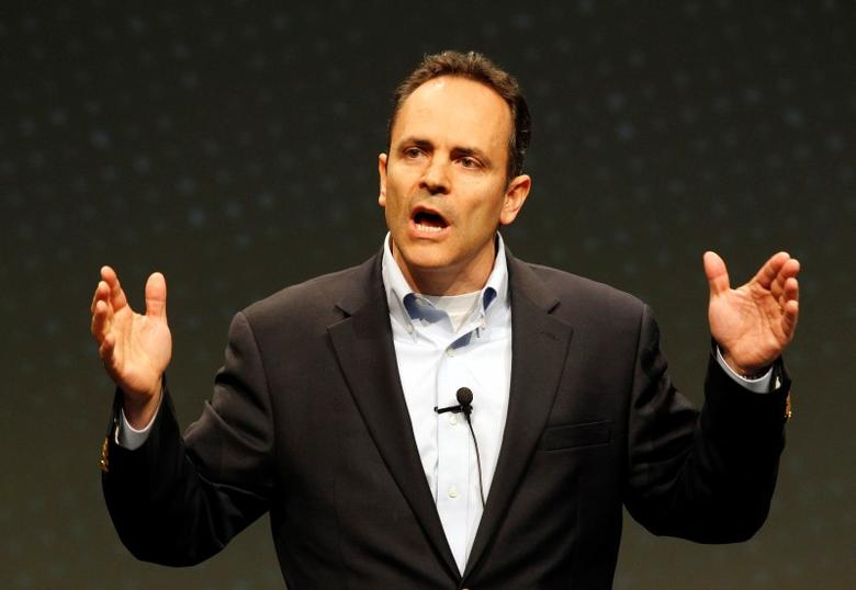 Matt Bevin (R-KY) speaks to a gathering at FreePAC Kentucky in Louisville, Kentucky, April 5, 2014.  REUTERS/John Sommers II